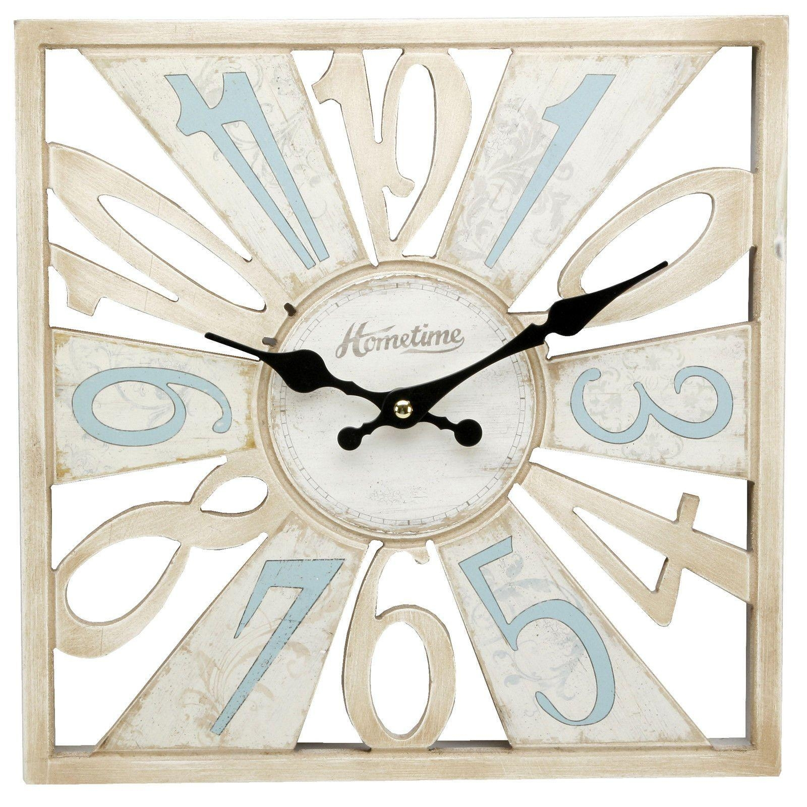Cut Out Wooden Wall Clock Duck Egg Blue & Cream Shabby Chic Wall Pertaining To Blue And Cream Wall Art (View 2 of 20)