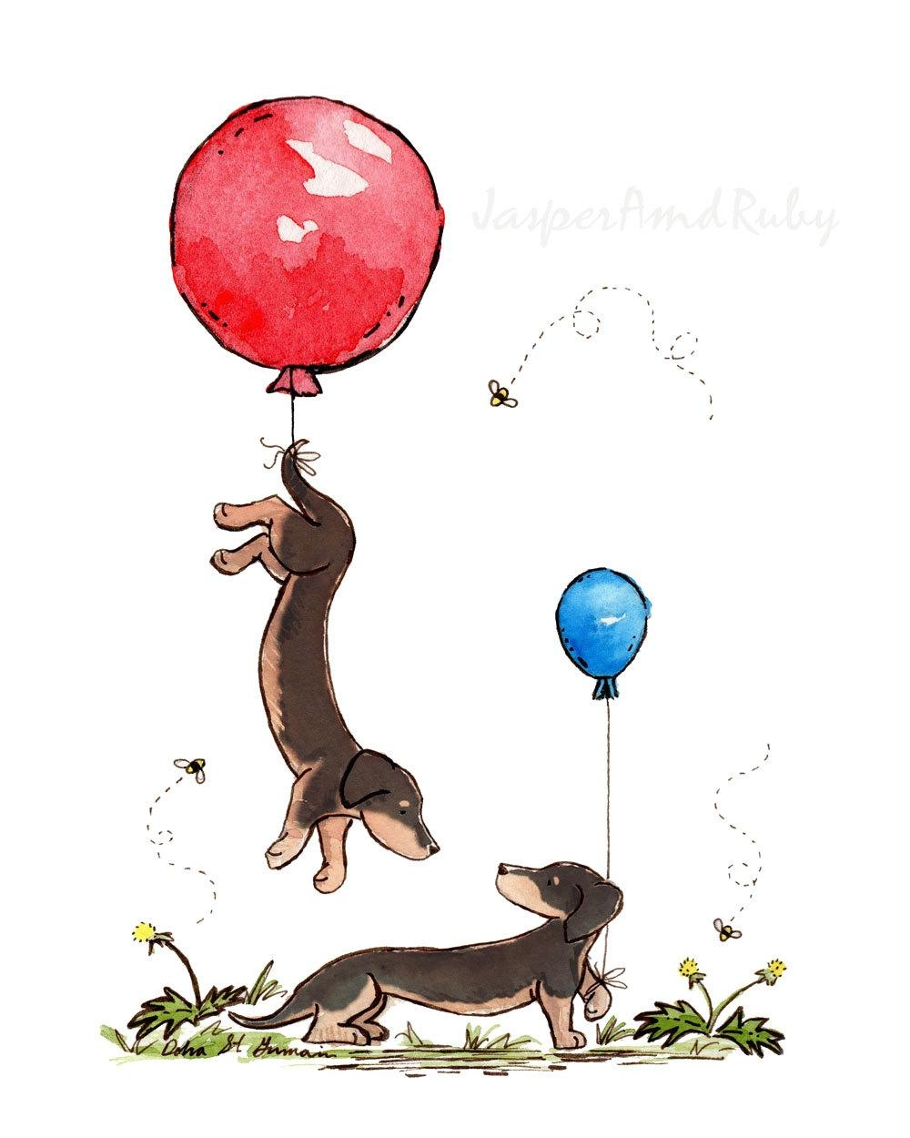 Dachshund Art Up And Away 5X7 8X10 11X14 Nursery Print Black For Dachshund Wall Art (View 14 of 20)