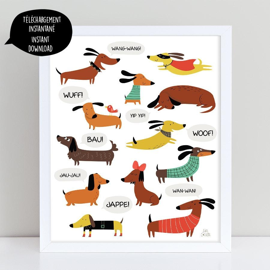 Dachshund Dog Dachshund Print Dachshund Art Dachshund Wall With Regard To Dachshund Wall Art (Photo 8 of 20)
