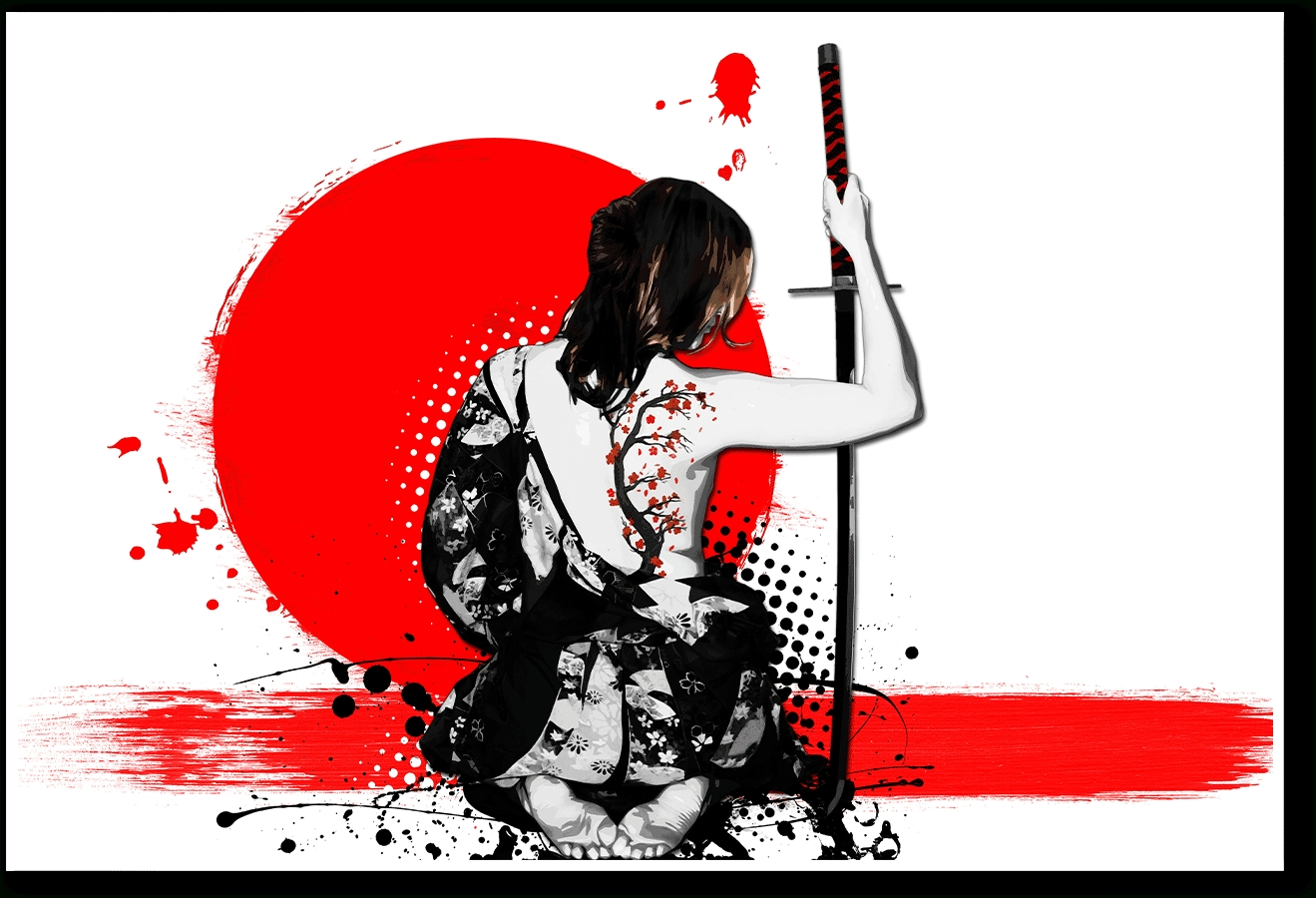 Dailyobjects Trash Polka Female Samurai Small Wall Art Print Small Intended For Samurai Wall Art (View 14 of 20)