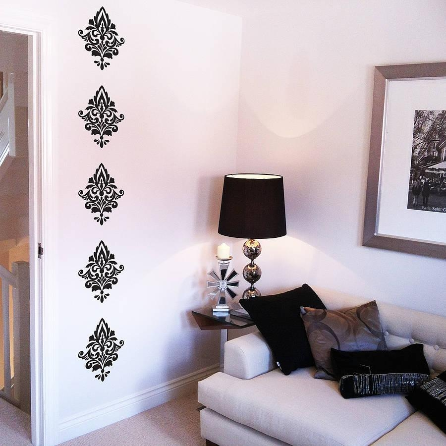 Damask Wall Stickersnutmeg | Notonthehighstreet With Regard To Black And White Damask Wall Art (View 20 of 20)