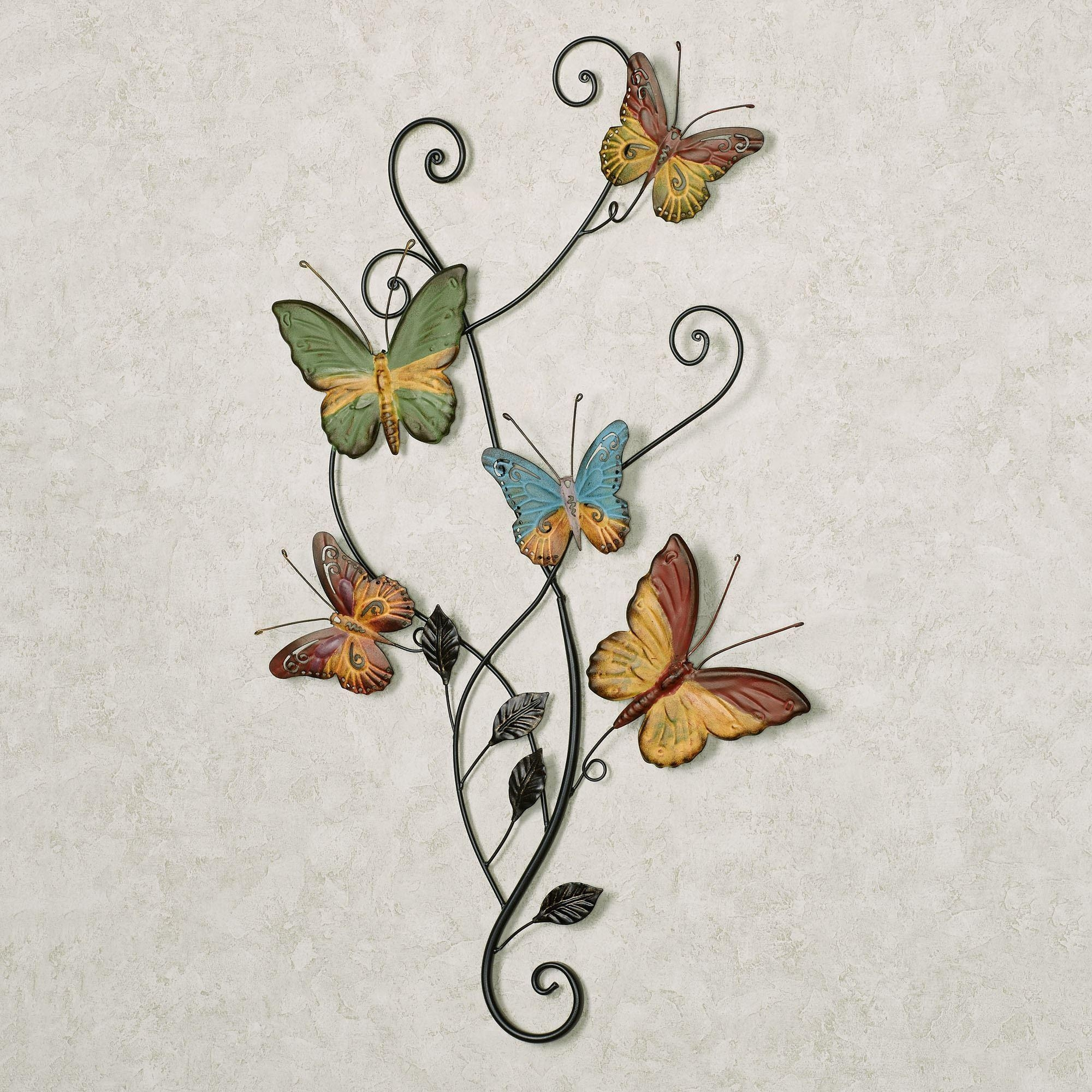 Dancing Butterflies Metal Wall Art Pertaining To Large Metal Butterfly Wall Art (Image 4 of 20)