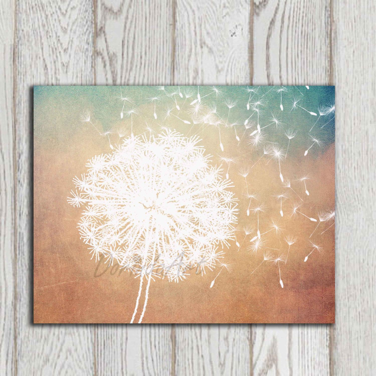 Dandelion Poster Print Dandelion Wall Art Printable Copper With Turquoise And Brown Wall Art (Image 8 of 20)
