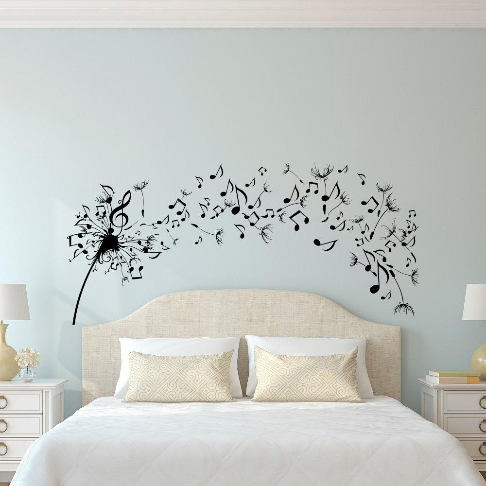 Dandelion Wall Decal Bedroom Music Note Wall Decal Dandelion In Music Note Wall Art (Image 2 of 20)