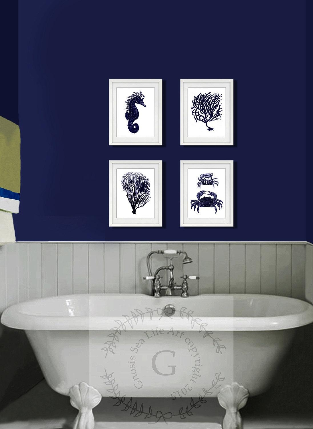 Dark Navy Blue And White Wall Art Set Of 4 Sea Coral Inside Blue And White Wall Art (Image 7 of 20)