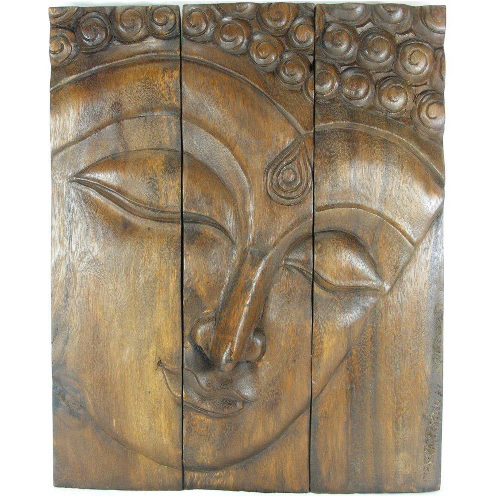 Dark Wood Buddha Face Wall Art Regarding Buddha Wooden Wall Art (Image 7 of 20)