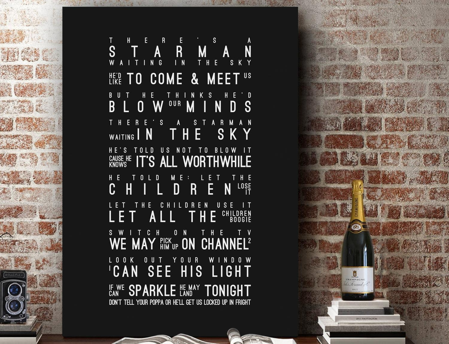 David Bowie Starman Inspired Lyrics Song Wall Art Song Lyrics Throughout Music Lyrics Wall Art (View 11 of 20)