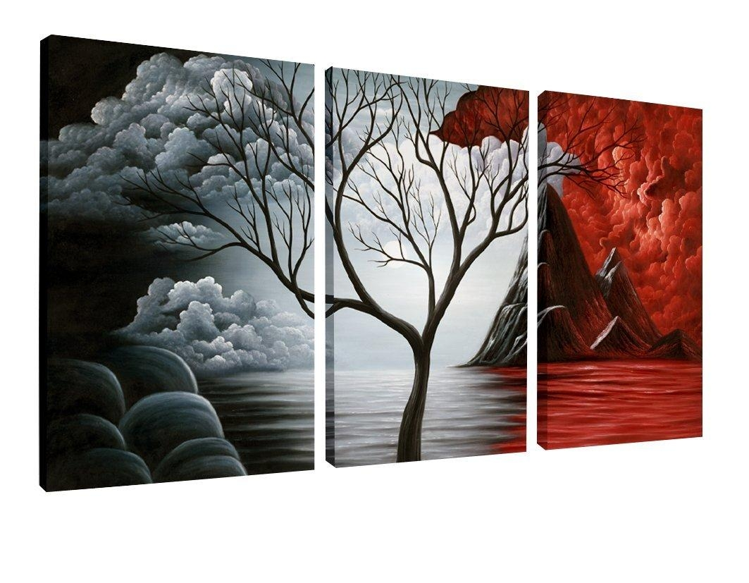 Decor: 5 Panel Wall Art Painting Ocean Beach Decor Canvas Wall Art Within Jungle Canvas Wall Art (View 8 of 20)