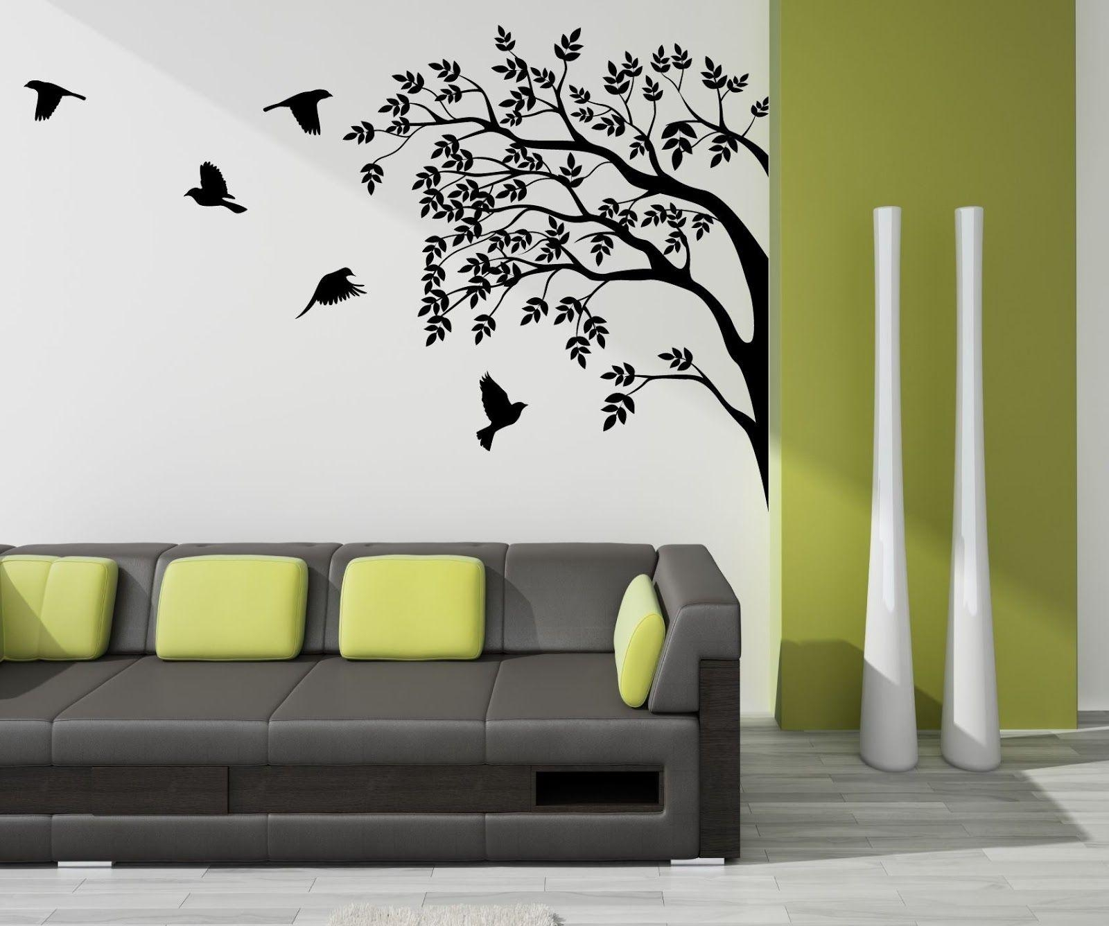 2018 latest painted trees wall art wall art ideas for Paintings for house decoration