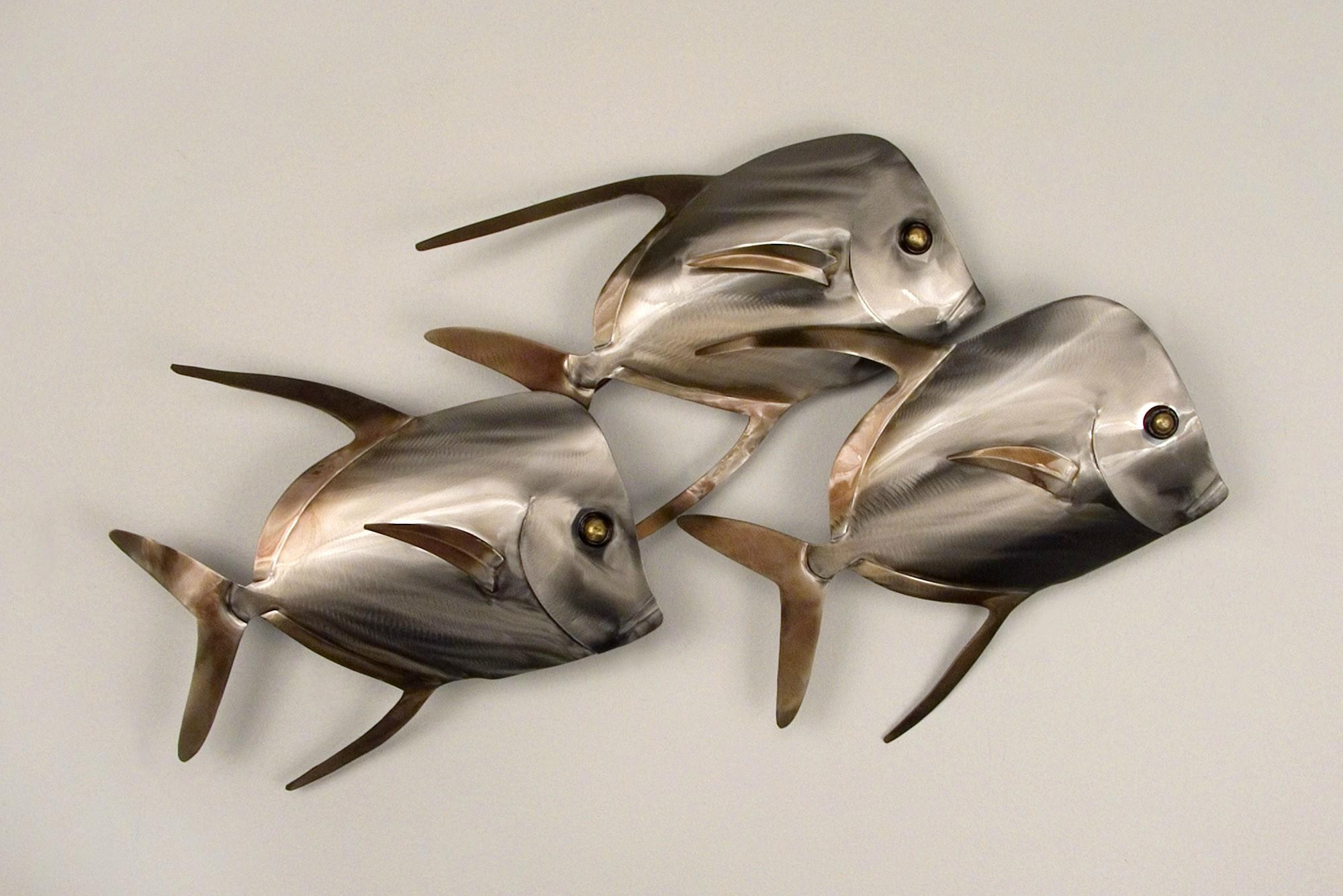 20 choices of shoal of fish metal wall art wall art ideas for Fish metal wall art