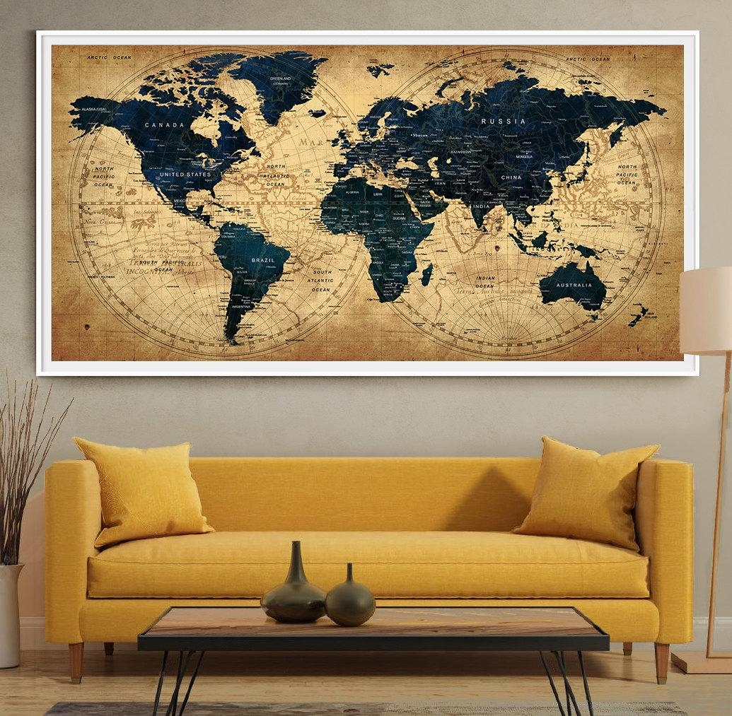 Decorative Extra Large World Map Push Pin Travel Wall Art Inside World Wall Art (Image 6 of 20)
