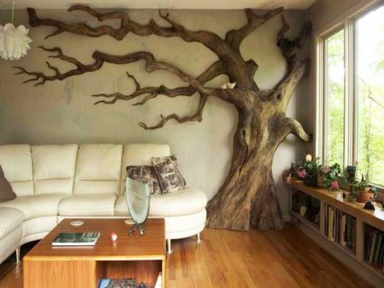 Decorative Ideas For Home, Carved Tree Wall Art Painted Tree Wall Pertaining To Painted Trees Wall Art (Image 9 of 20)