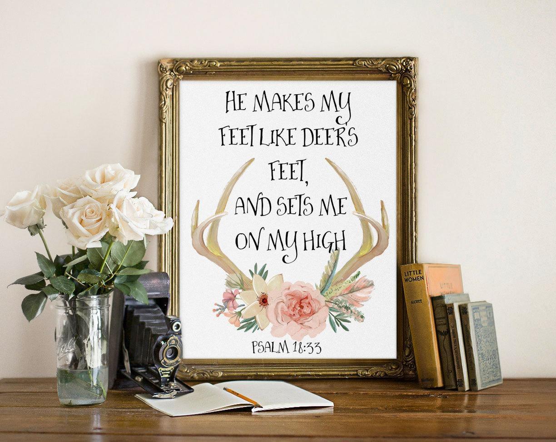 Deer Bible Verse Inspirational Quote Print Deer Prints Regarding Bible Verses Framed Art (View 2 of 20)