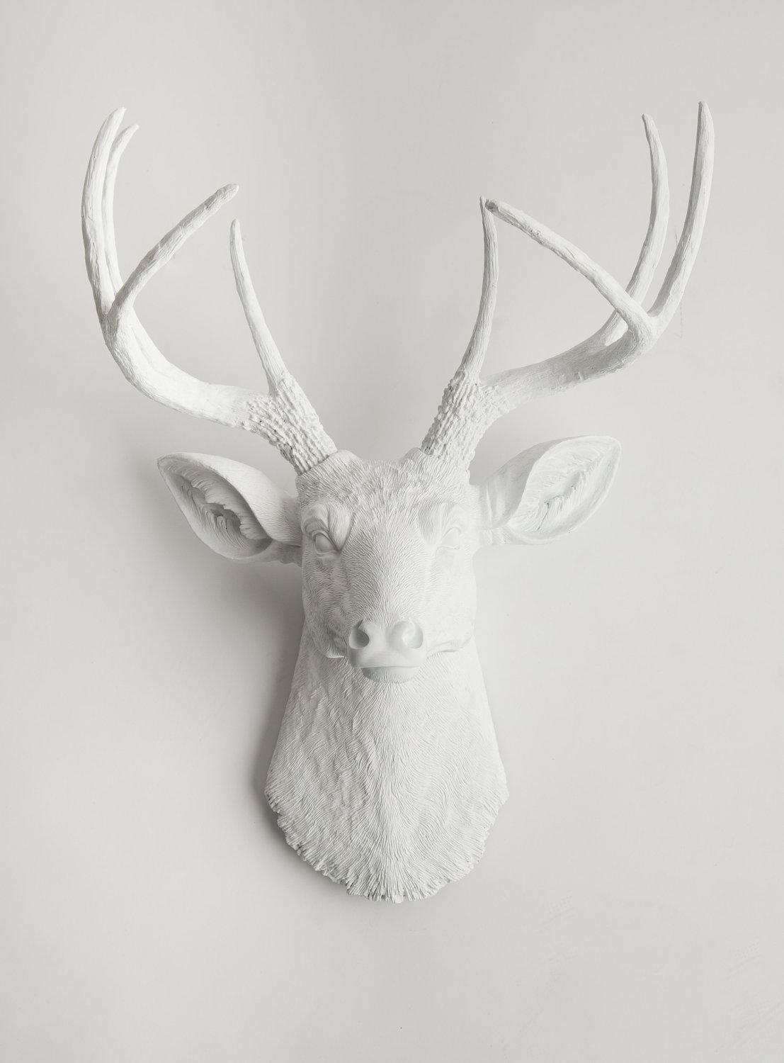 Deer Head Wall Mount Large Resin Stag Headwhite Faux Throughout Stags Head Wall Art (Image 6 of 20)