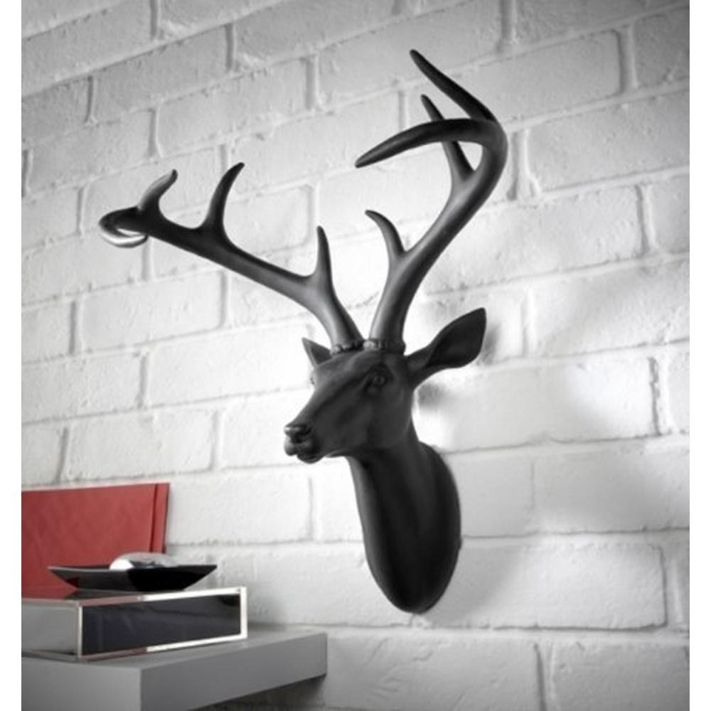 Deer Stag Head Decorative Mounted Resin Wall Art Black 008152 Throughout Stags Head Wall Art (Image 7 of 20)