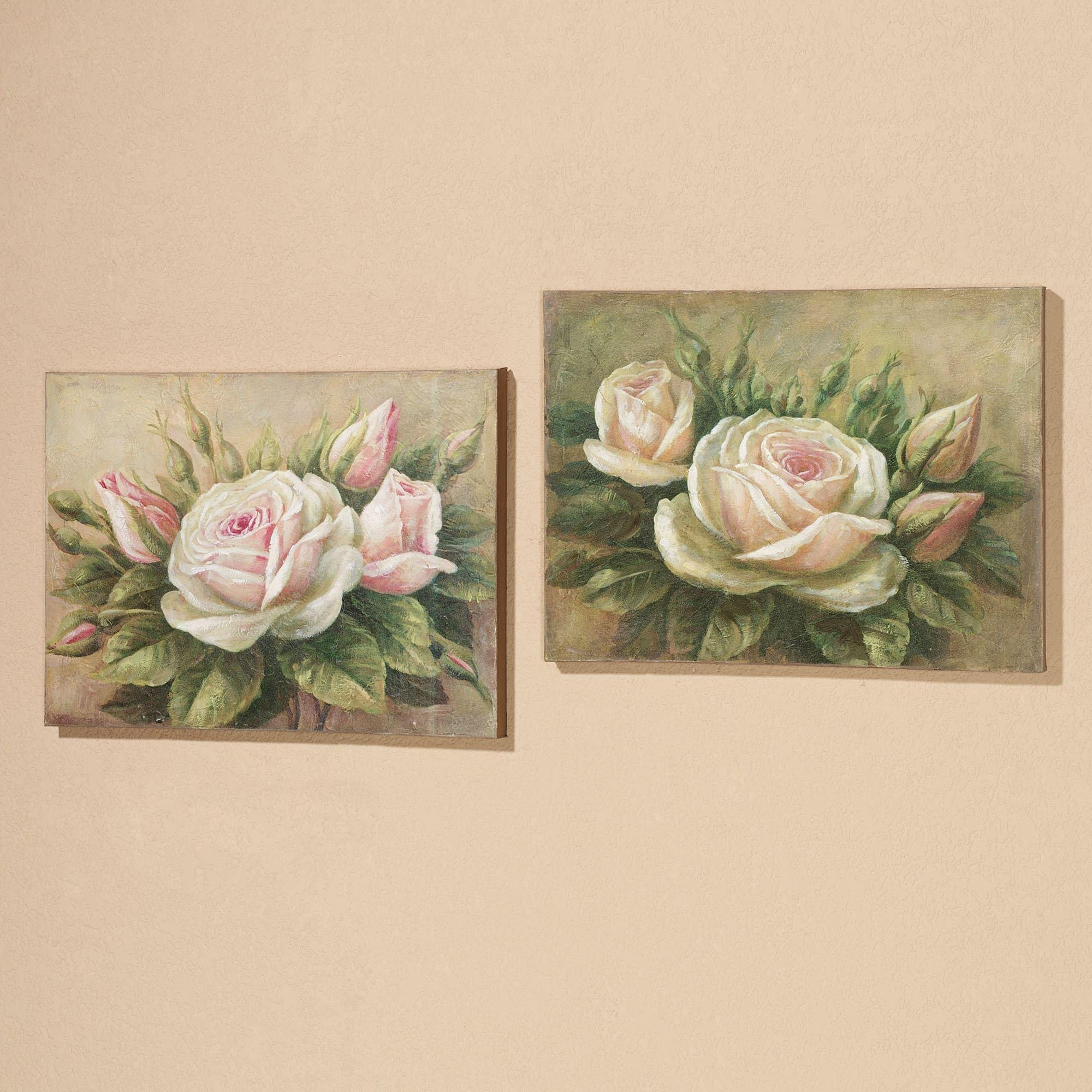 Delicate Petals Roses Canvas Wall Art Set With Rose Canvas Wall Art (Image 8 of 20)