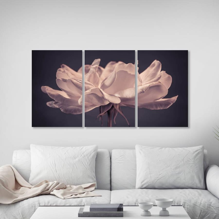 Delicate Rose Triptych Canvas Wall Artta Dah Wall Art With Rose Canvas Wall Art (View 12 of 20)