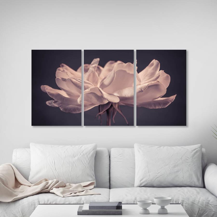 Delicate Rose Triptych Canvas Wall Artta Dah Wall Art With Rose Canvas Wall Art (Image 9 of 20)