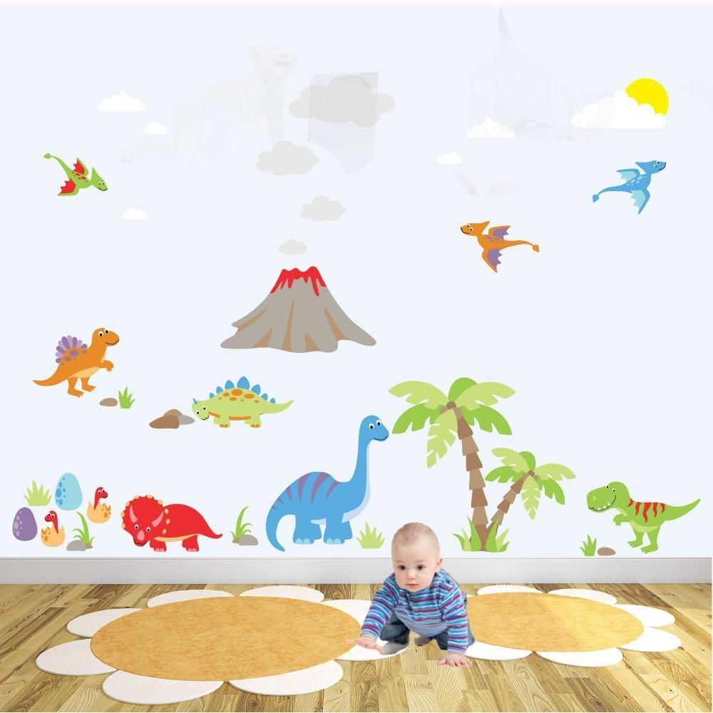 Deluxe Dinosaur Nursery Wall Art Sticker Scene Inside Dinosaur Wall Art For Kids (Image 7 of 20)
