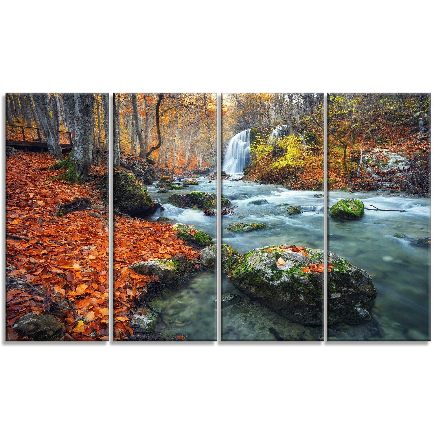 Designart 'forest With Red And Orange Leaves' 4 Piece Wall Art On Regarding 4 Piece Wall Art (View 2 of 19)