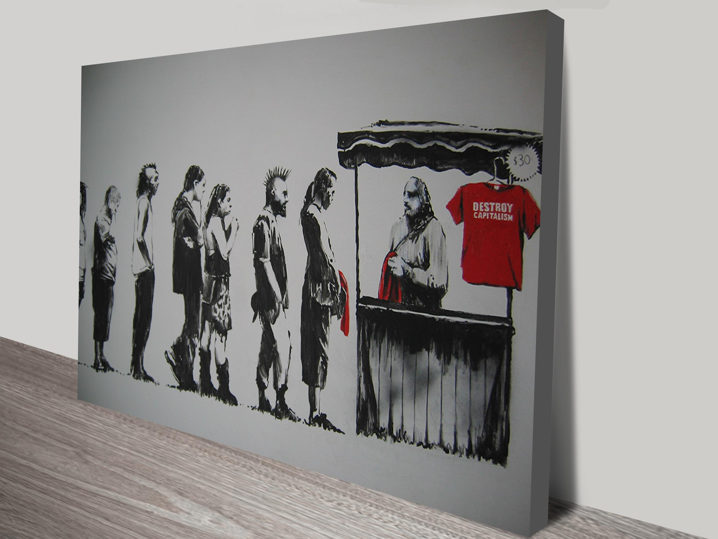 Destroy Capitalism Canvas Wall Art Australia Regarding Banksy Canvas Wall Art (Image 18 of 20)