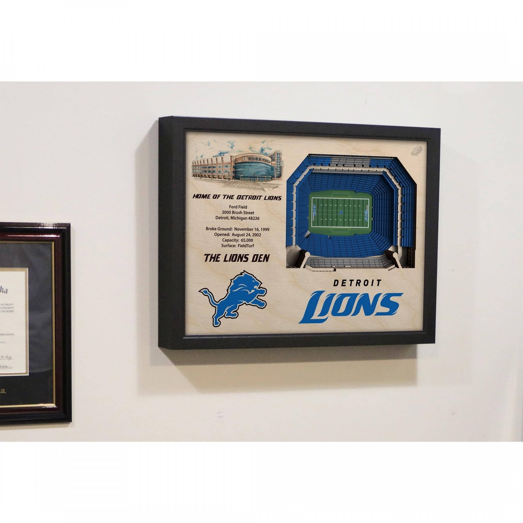 Detroit Lions Stadiumview Wall Art – Ford Field 3 D Reproduction With Regard To Red Sox Wall Art (Image 13 of 20)
