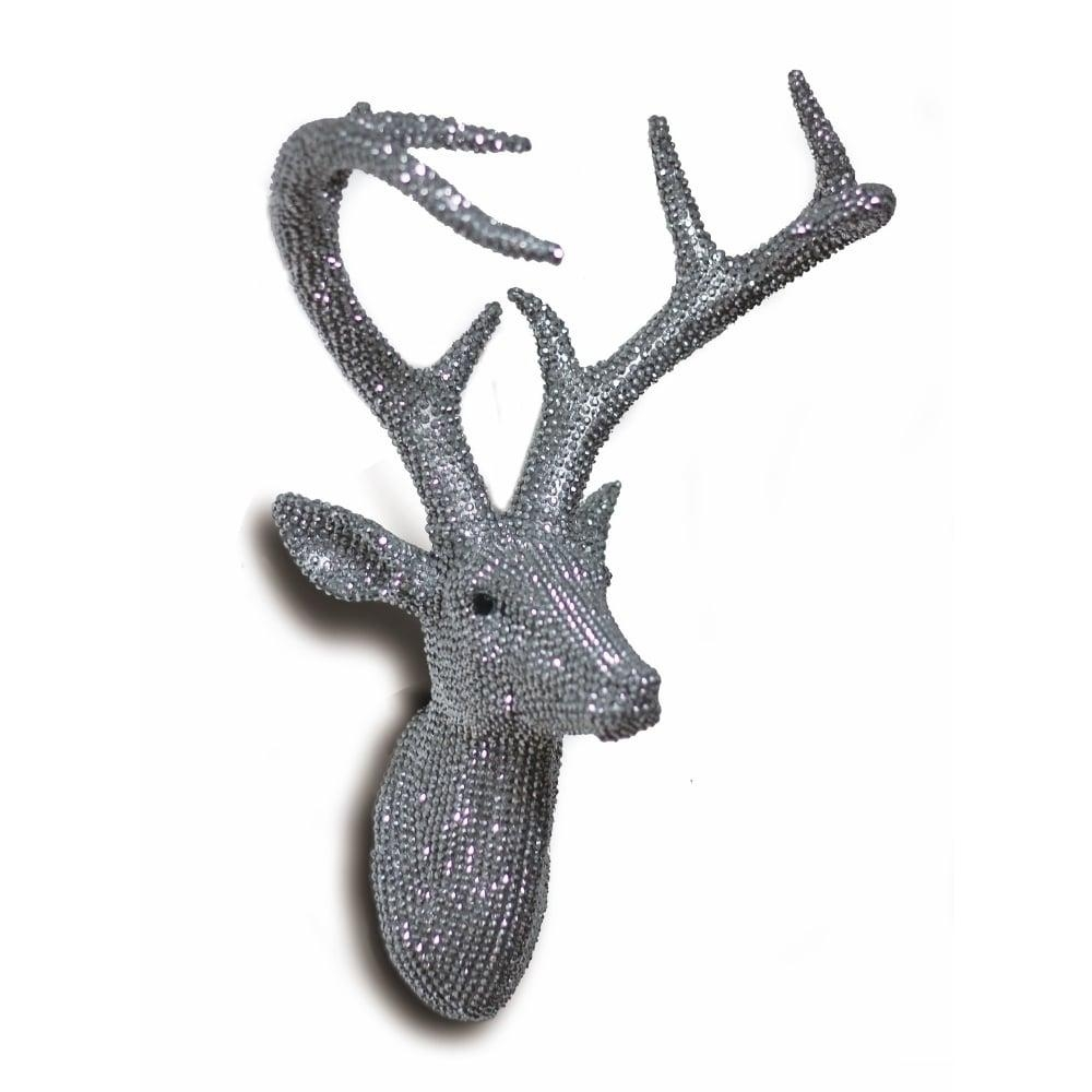 Diamante Diamond Wall Mounted Deer Stag Head 3D Resin Wall Art 62 9896 Inside Stags Head Wall Art (Image 8 of 20)