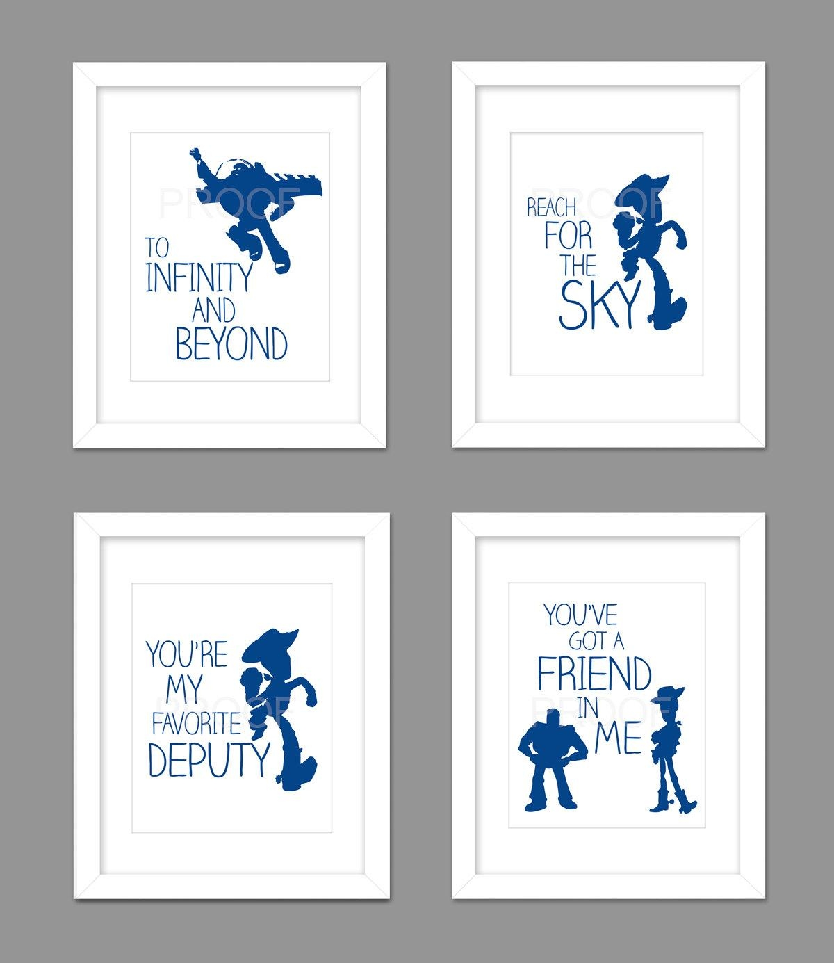 Digital Download Set Of 4 Toy Story Woody Buzz Nursery Art With Regard To Toy Story Wall Art (Image 7 of 20)