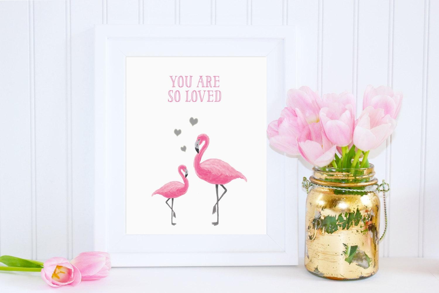 Digital You Are So Loved Flamingo Wall Art Girl Nursery With Pink And Grey Wall Art (Image 10 of 20)