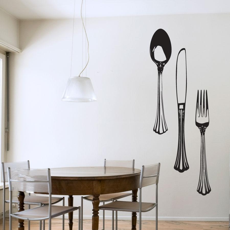 Dining Cutlery Set Wall Art Decals With Oversized Cutlery Wall Art (View 2 of 20)