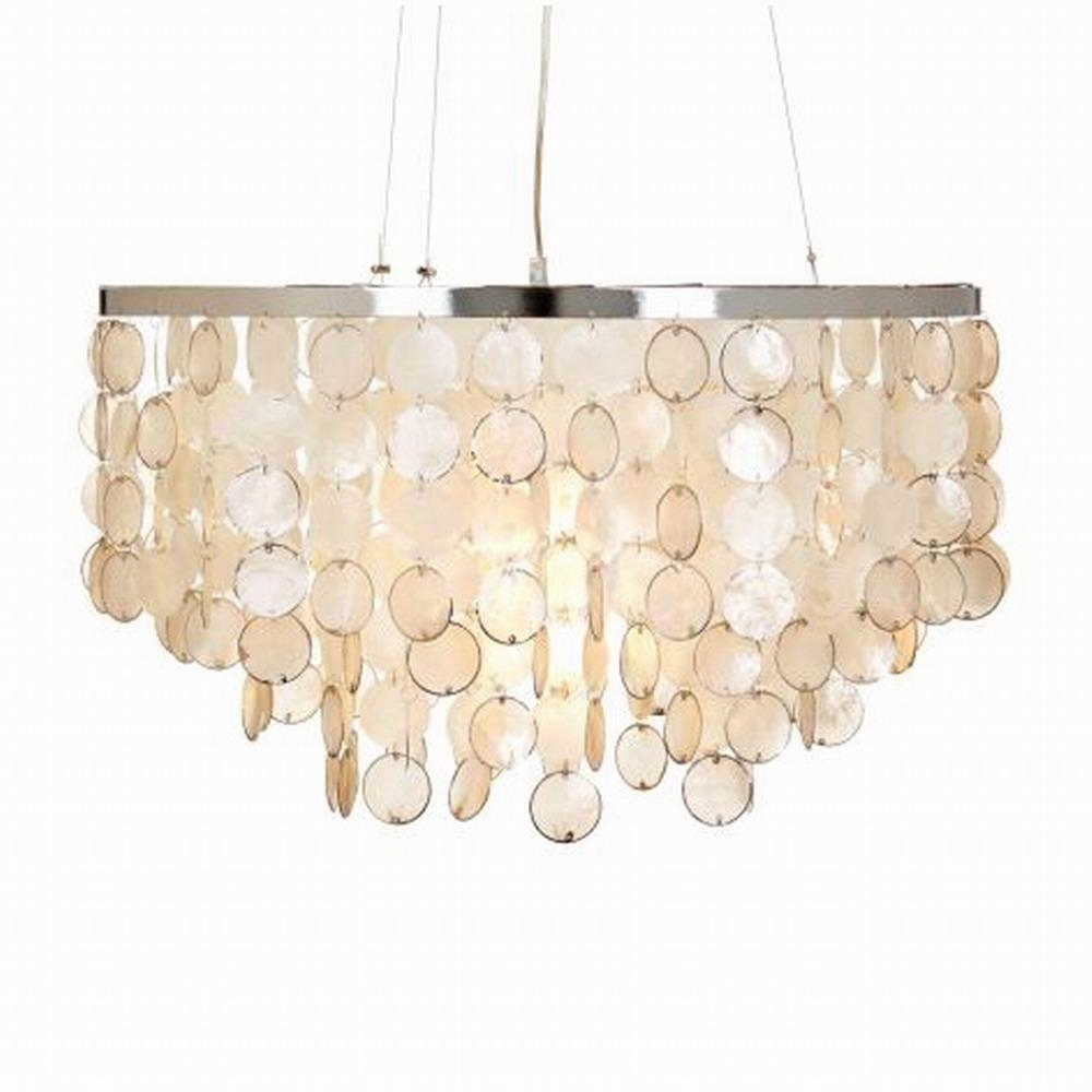 Dining Room: Capiz Shell Chandelier With Chains Hanging And White For Capiz Shell Wall Art (View 7 of 20)