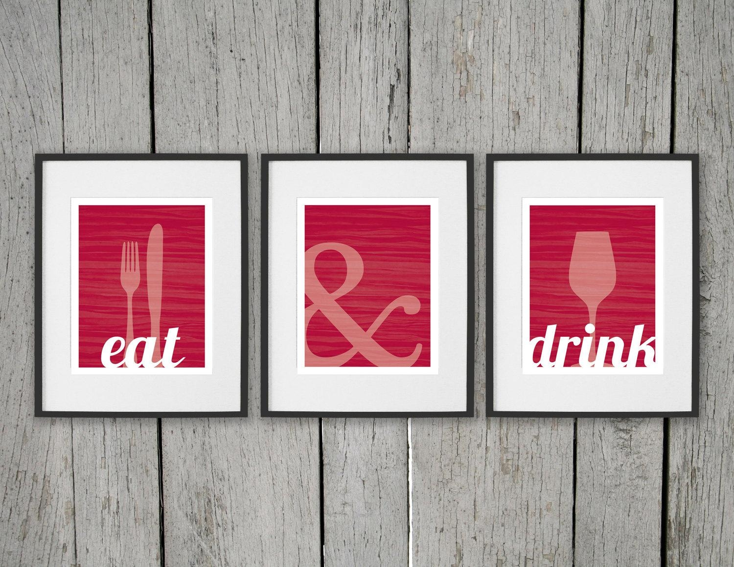 Dining Room Prints Wall Art Eat & Drink Fork Knife Spoon Inside Kitchen And Dining Wall Art (Image 8 of 20)