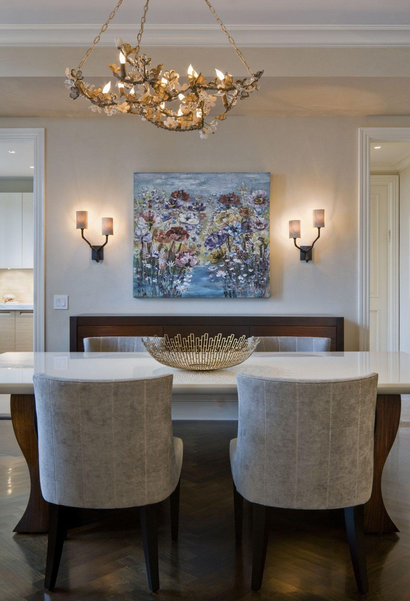 Dining Room With Wall Sconces And Painting Wall Art – Placing With Dining Wall Art (View 12 of 20)