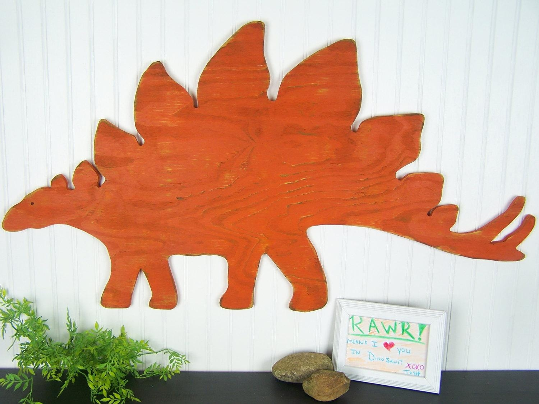 Dinosaur Decor Stegosaurus Orange Dinosaur Wall Art Rustic In Dinosaur Wall Art For Kids (Image 8 of 20)