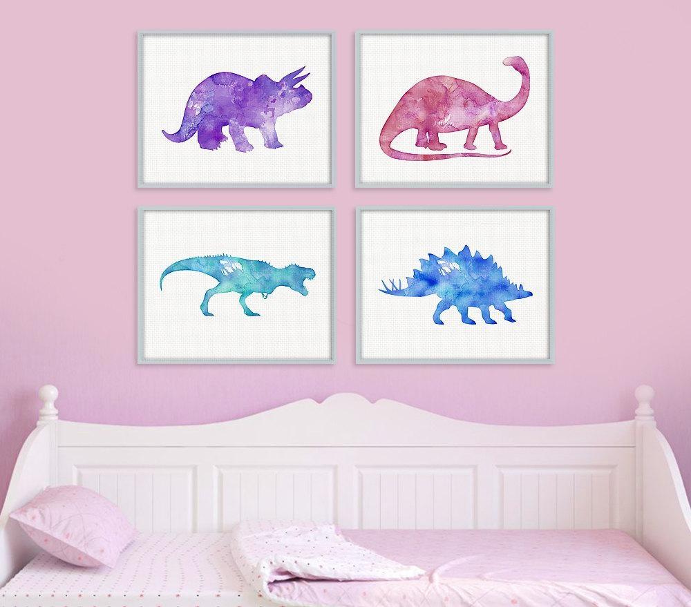 Dinosaur Print Set Girls Room Decor Girls Wall Art Baby For Dinosaur Wall Art For Kids (Image 11 of 20)
