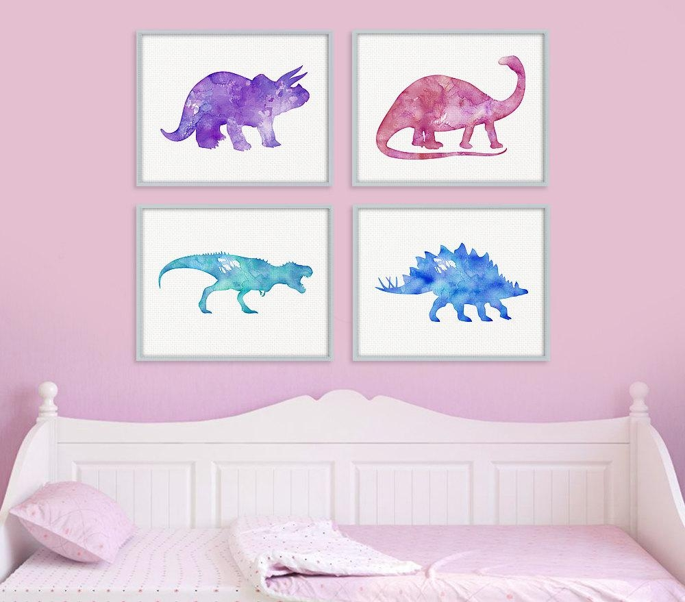 Dinosaur Print Set Girls Room Decor Girls Wall Art Baby With Regard To Wall Art For Girls (Image 9 of 20)