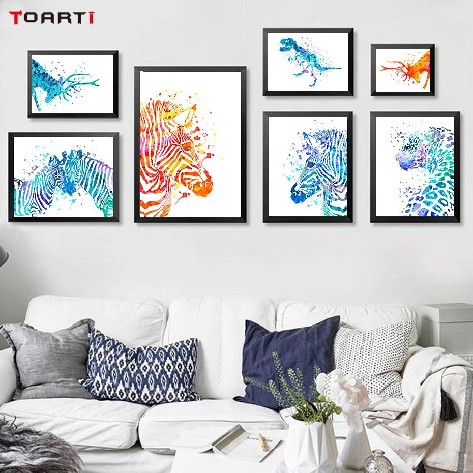 Dinosaurs Watercolor Wall Art Promotion Shop For Promotional Throughout Dinosaur Canvas Wall Art (View 8 of 20)