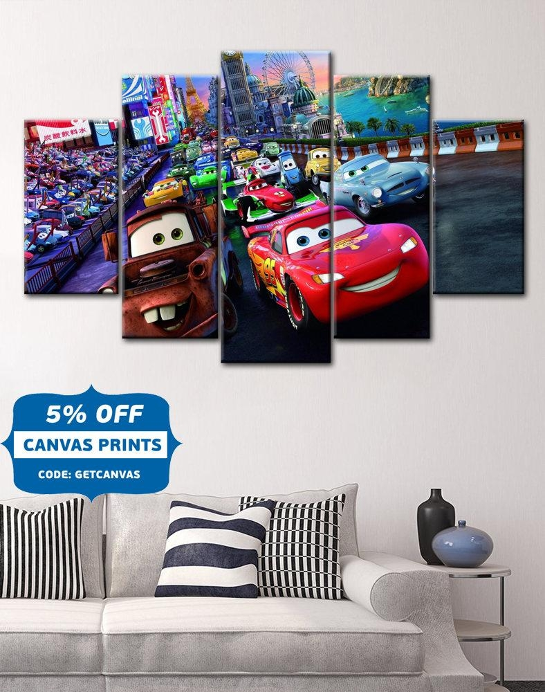 Disney Cars Canvas Cars Poster Cars Canvas Lightning Inside Lightning Mcqueen Wall Art (View 16 of 20)