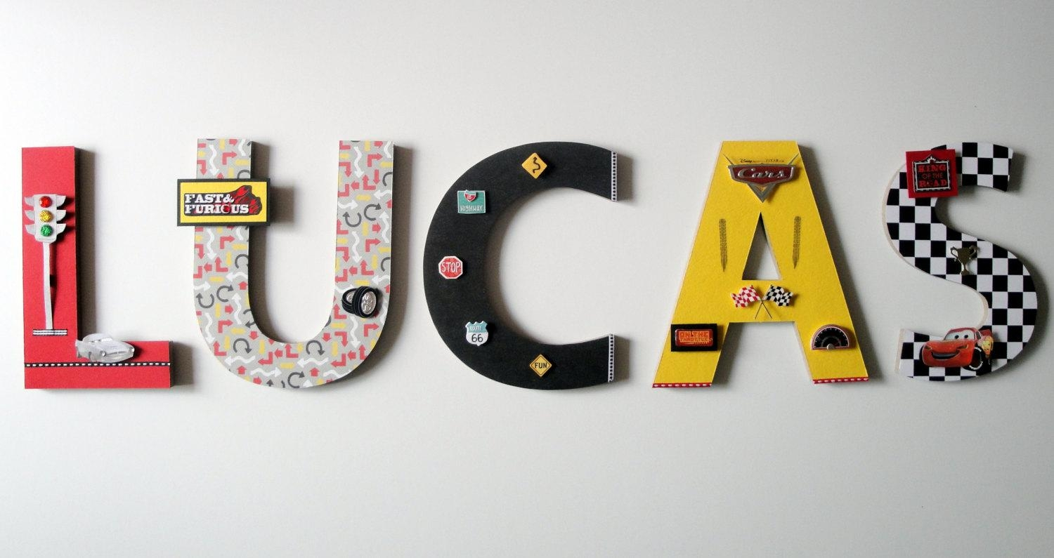 Disney Cars Wall Letters 8 3D Custom Wall Letters Throughout Lightning Mcqueen Wall Art (Image 8 of 20)