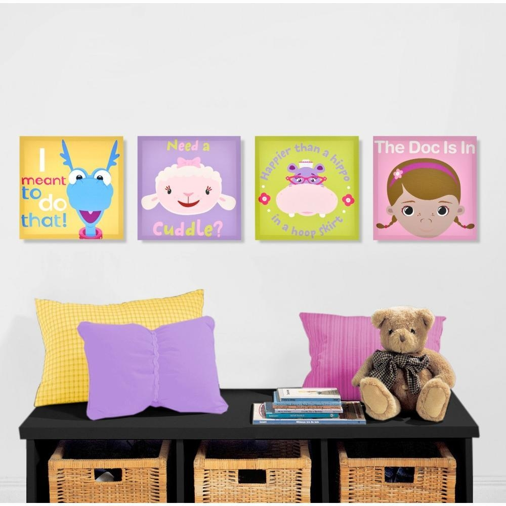 Disney Doc Mcstuffins 4 Pack Canvas Wall Art – Walmart With Regard To Walmart Wall Stickers (View 12 of 20)