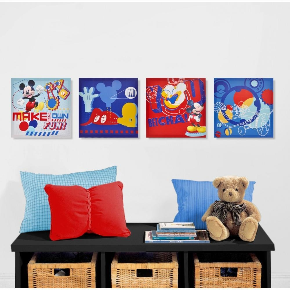Disney Mickey Mouse 4 Pack Canvas Wall Art – Walmart Inside Mickey Mouse Clubhouse Wall Art (Image 5 of 20)
