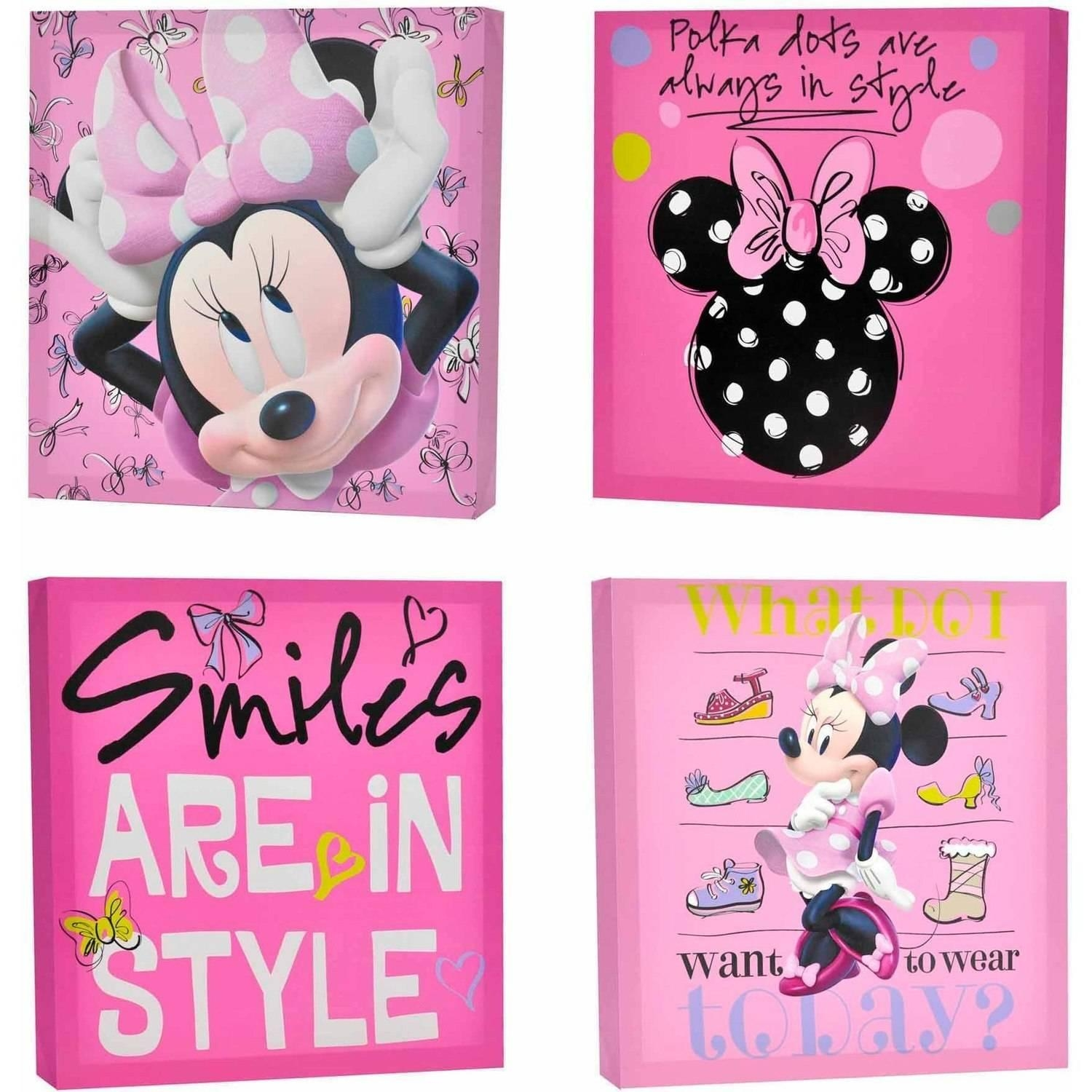 Disney Minnie Mouse 4 Pack Canvas Wall Art – Walmart Pertaining To Princess Canvas Wall Art (Image 6 of 20)