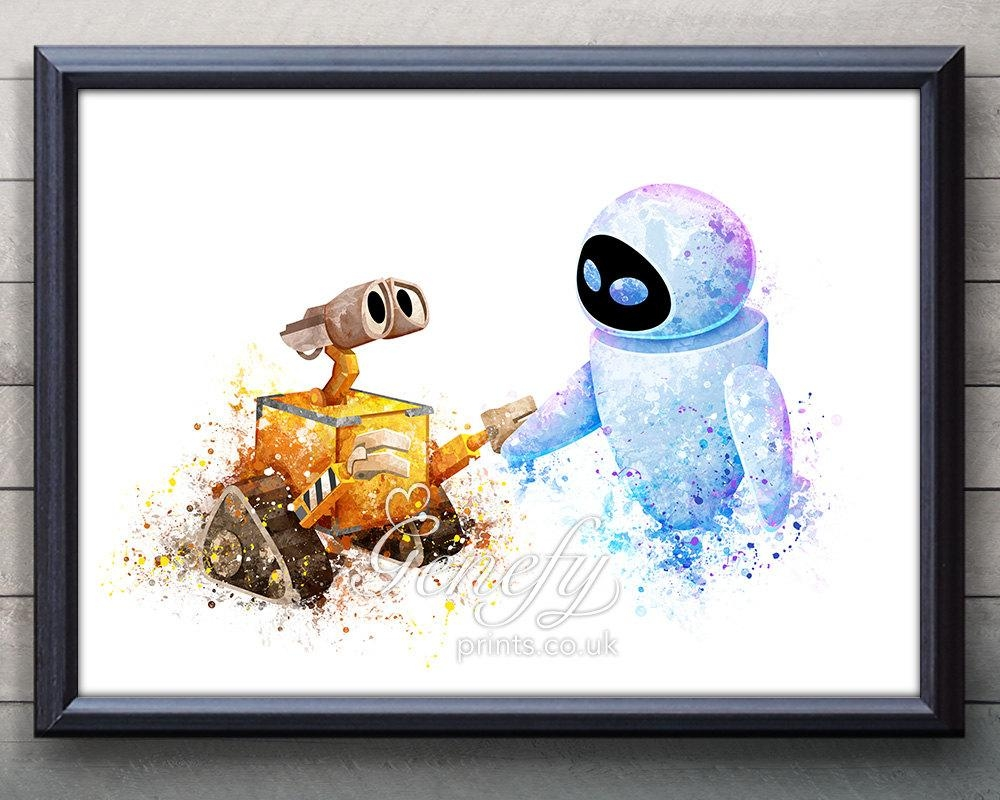 Disney Pixar Wall E And Eve Watercolor Poster Print Intended For Lightning Mcqueen Wall Art (Photo 20 of 20)