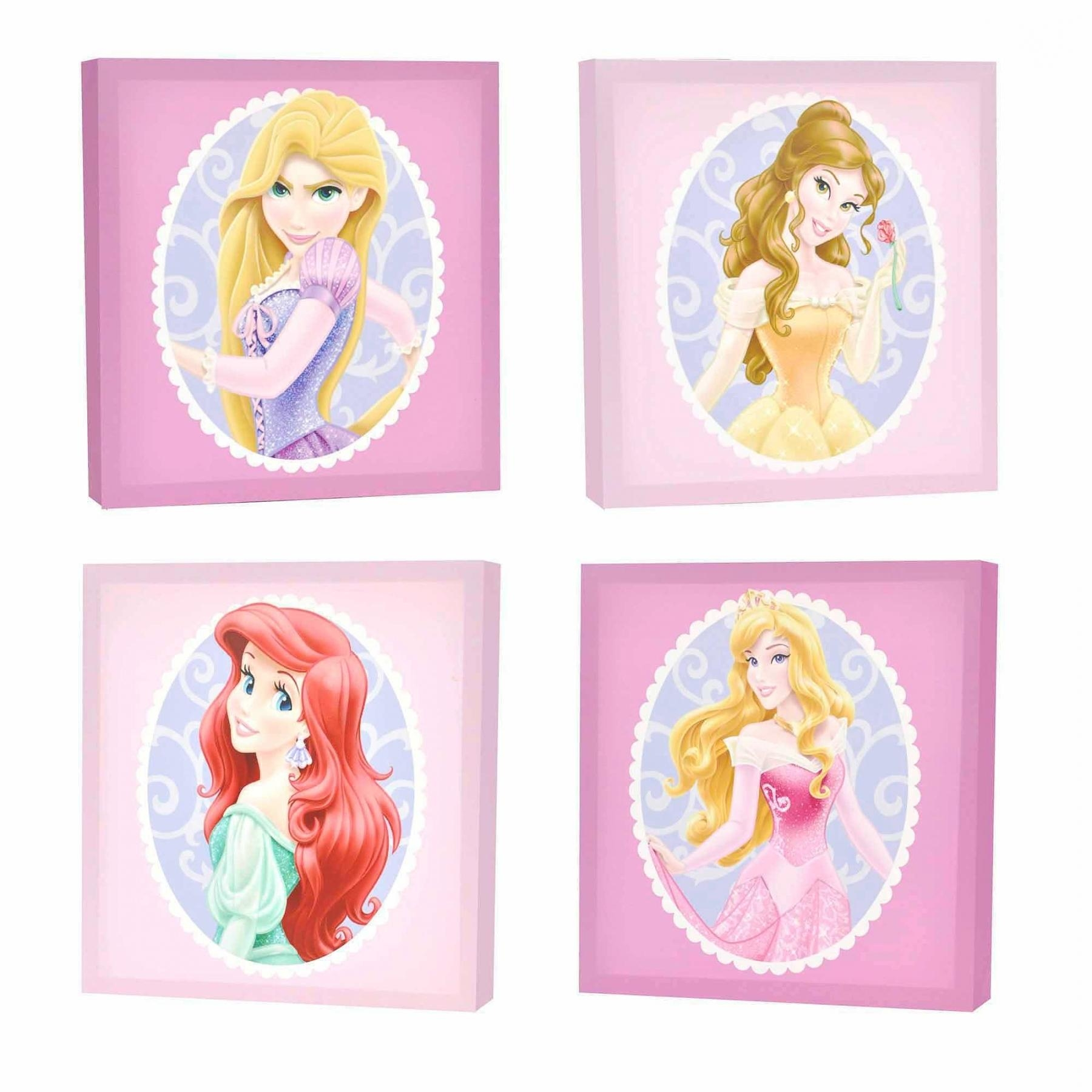 Disney Princess 4 Pack Canvas Wall Art – Walmart Throughout First Inside Princess Canvas Wall Art (Image 8 of 20)