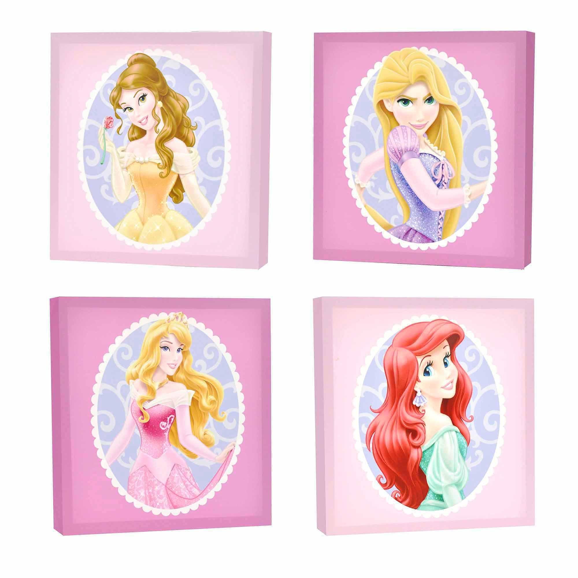 Disney Princess 4 Pack Canvas Wall Art – Walmart Throughout Princess Canvas Wall Art (View 1 of 20)