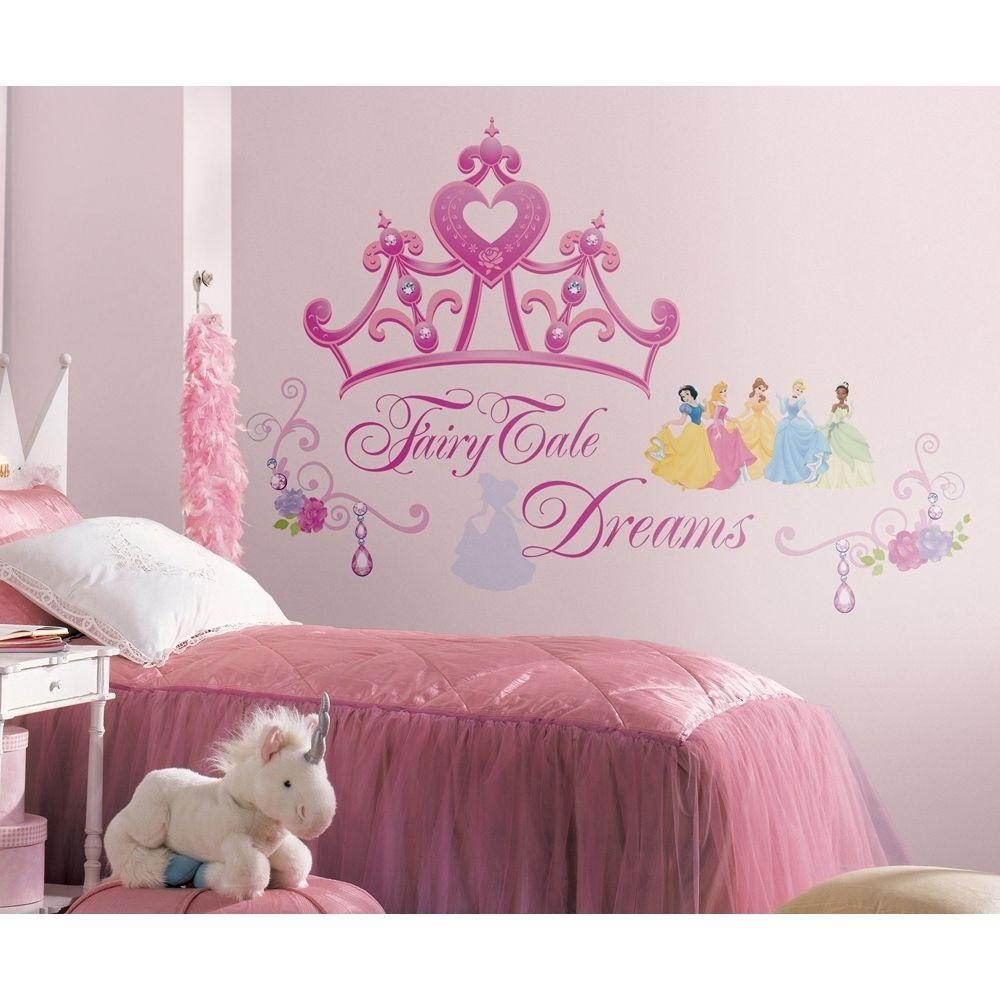Disney Princess Crown Wall Mural Stickers Girls Pink Tiara Decals Intended For Princess Crown Wall Art (Image 10 of 20)
