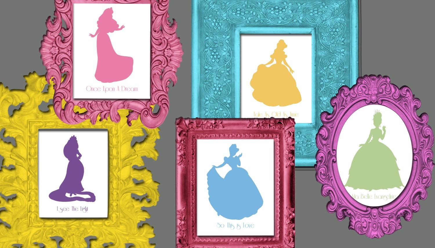 Disney Princess Silhouette Wall Art 12 8X10 Prints With Song With Disney Princess Wall Art (Image 10 of 20)