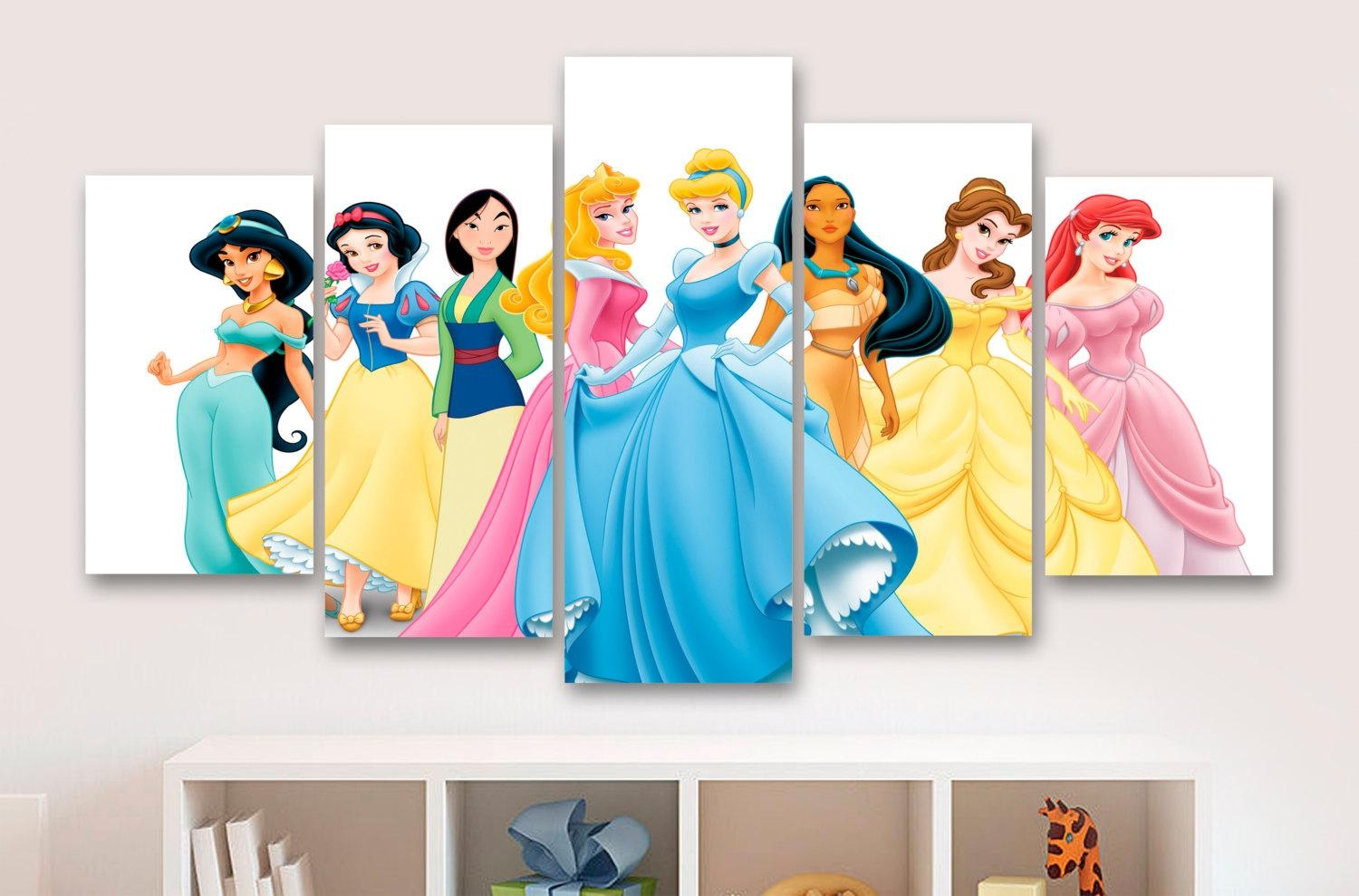 Disney Princesses 5 Panel / Piece Canvas Wall Art Office In Disney Princess Wall Art (Image 12 of 20)