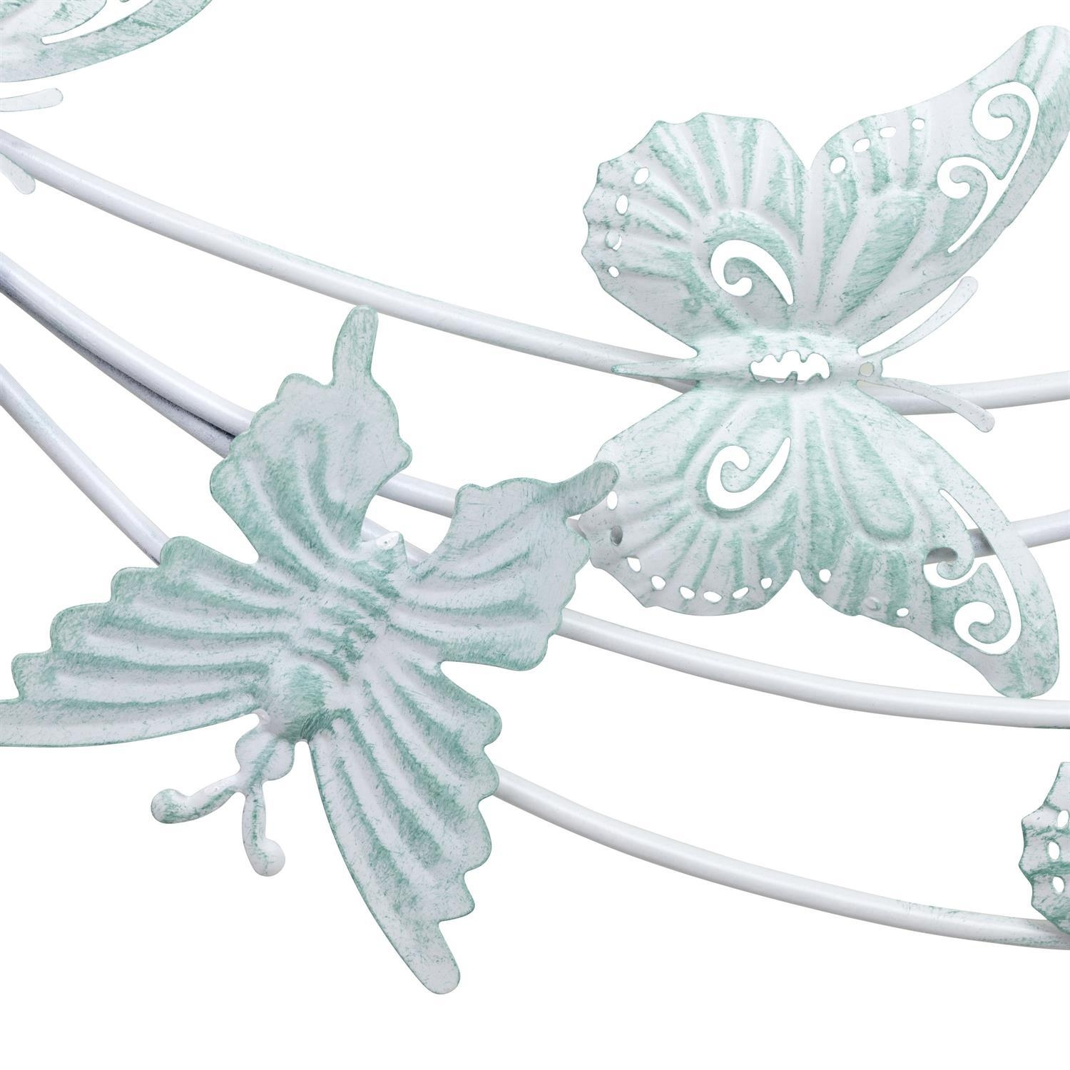 Distressed White & Duck Egg Blue Metal Butterfly Burst Wall Art With Regard To Duck Egg Blue Wall Art (View 17 of 20)