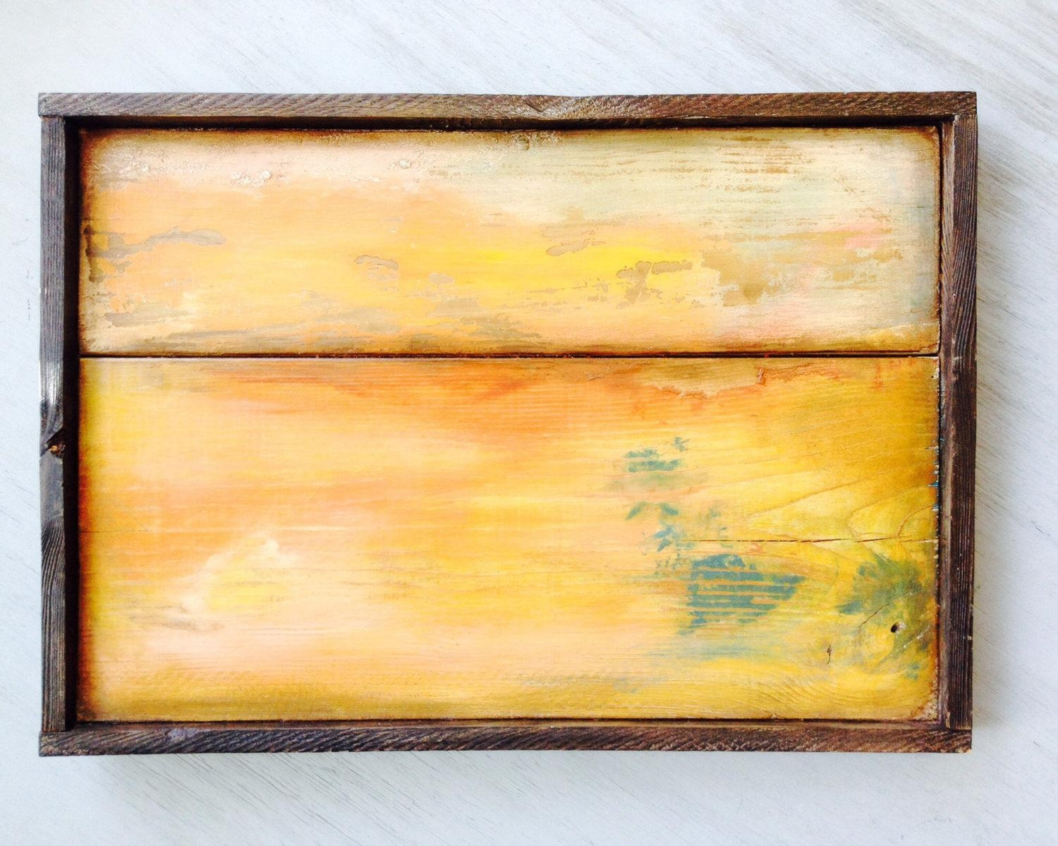 Distressed Wood Boards Reclaimed Wood Wall Art Solid Wood Inside Yellow And Blue Wall Art (View 15 of 20)